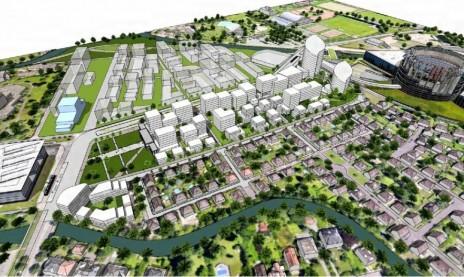 La première tranche de l'aménagement du quartier Wacken-Europe en blanc. Derrière en transparent, la seconde tranche. (doc remis)