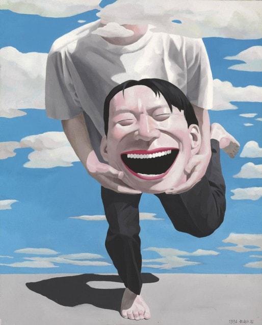 Yue Minjun, sans titre, 1994. Œuvre exposée à la Fondation Cartier. © Yue Minjun. Source photo: internet.: