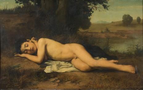 """Jean-Jacques Henner, """"Le jeune baigneur endormi"""", 1862, huile sur toile, musée Unterlinden, Colmar"""
