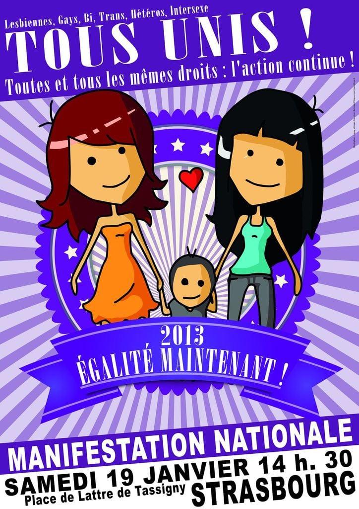 Manifestation en faveur du mariage pour tous le 19 janvier