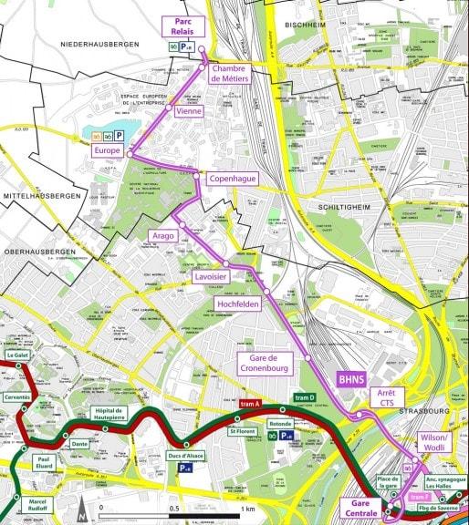 Le tracé du BHNS (en rose) (Groupement Arcadis-Stoa-Berest)