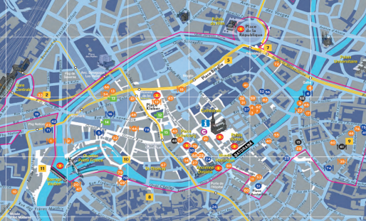 Carte de la vie nocturne à Strasbourg. Est-ce que d'autres points lumineux vont étoffer cette carte ? (Photo CUS / LAS)