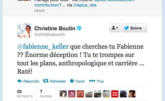 Tweetclash entre Fabienne Keller et Christine Boutin