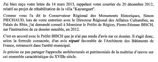 Extrait de la réponse de Serge Brentrup, ABF, à Robert Grossmann - 20 mars 2013 (Capture MM)