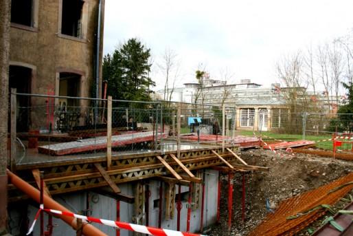 Nouvelles fondations des parties vitrées (Photo MM)