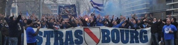 Les supporters du Racing, en route pour le stade (Photo : Racingstub).