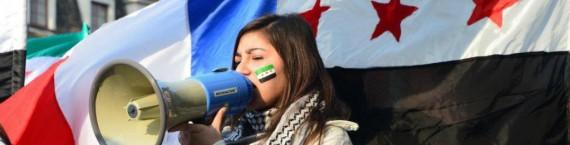 Semaine de soutien au peuple syrien et manifestation devant le Parlement européen (Photo : association Alsace-Syrie)