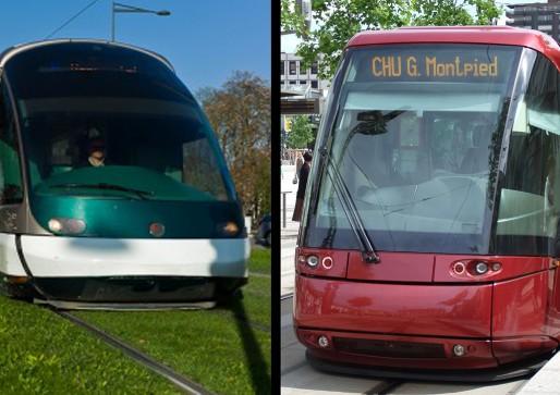 Tramway sur fer ou tramway sur pneus, la concertation publique va-t-elle réussir à trancher le débat ? (Photos Matthieu Mondoloni et FlickR)