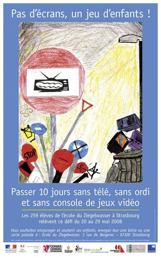 Affiche réalisée lors du défi relevé par les enfants de l'école du Ziegelwasser (Strasbourg) en mai 2008 (document remis)
