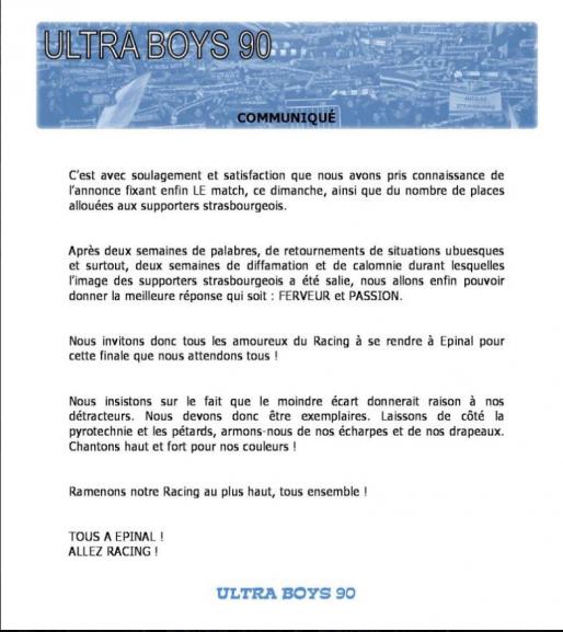 Communiqué des Ultra Boys 90, daté du 29 mai (Capture Rue89 Strasbourg)