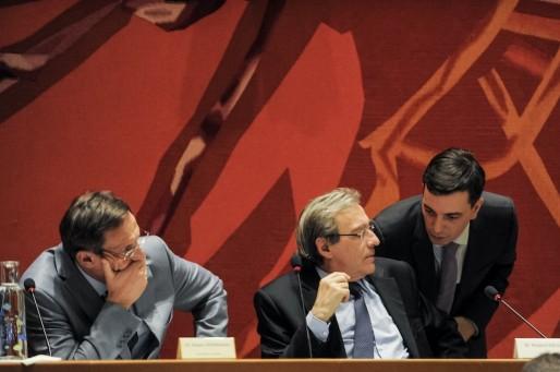 Robert Herrmann, 1er adjoint, Roland Ries, maire sortant, Alain Fontanel, adjoint aux finances (Photo Pascal Bastien)