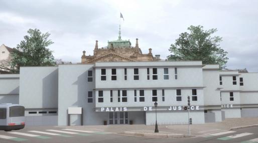 Les modulaires du palais de justice provisoire prendront 4 à 5 mois pour être installés. (Photo LJ / Rue89 Strasbourg)
