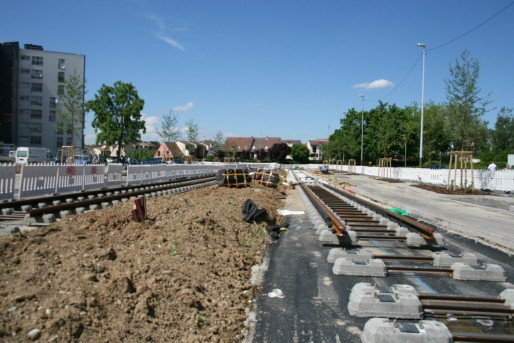 La ligne de tram A sera prolongée au nord fin 2013 (Photo MM / Rue89 Strasbourg)