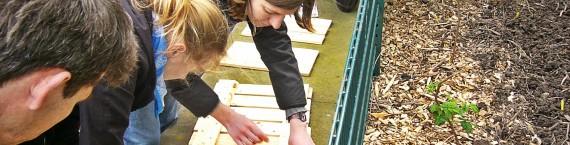 Atelier collectif de construction de la première boîte à livres. (Photo MN)