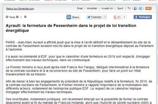 La fermeture de Fessenheim dans le projet de loi transition énergétique