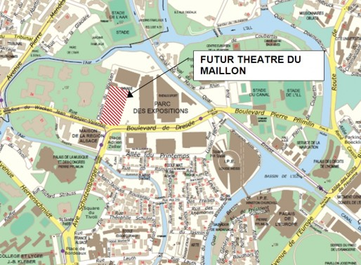 Les nouveaux locaux du théâtre du Maillon se situeront place Adrien Zeller. (Document remis)