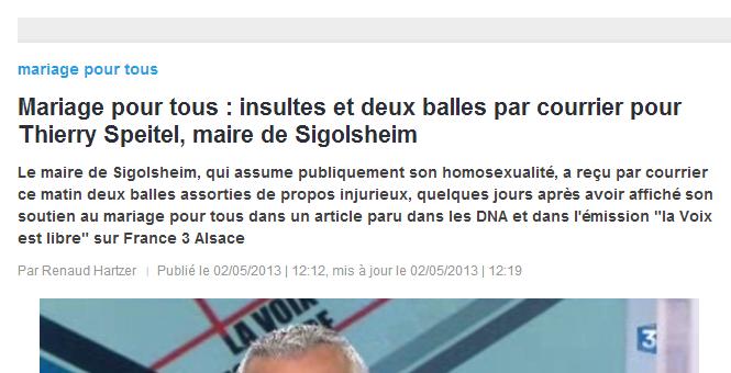 Insultes et deux balles par courrier pour le maire homosexuel Thierry Speitel