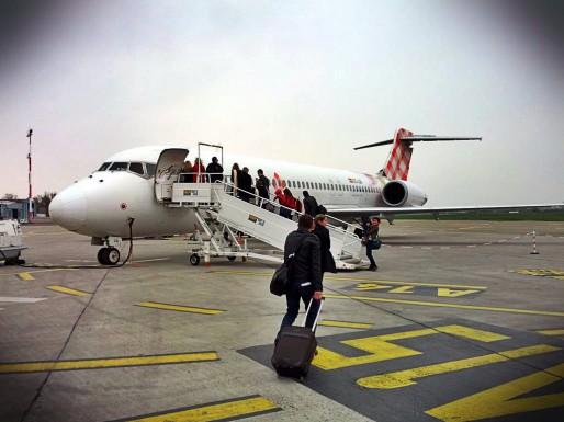 Embarquement dans le Boeing 717 de Volotea (Photo PF / Rue89 Strasbourg)