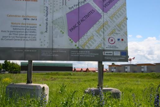La zone d'activités va s'étendre et faire barrière entre la Kibitzenau et la cité des Aviateurs (Photo MM / Rue89 Strasbourg)
