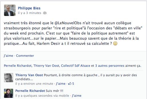 Capture profil Facebook de Philippe Bies, mercredi 12 juin (MM)