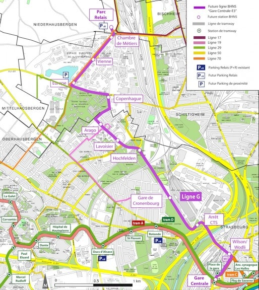 Tracé du BHNS de Strasbourg, appelé ligne G et intégrée dans le réseau tram (document CUS)
