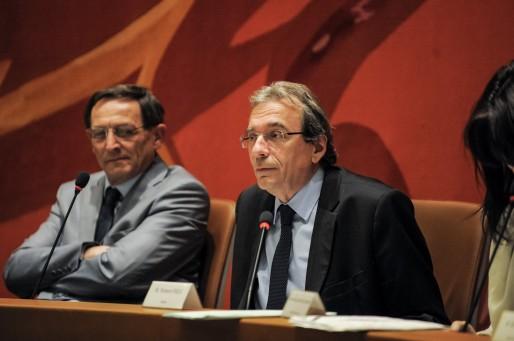 Robert Herrmann, 1er adjoint, et Roland Ries, maire sortant (Photo Pascal Bastien)