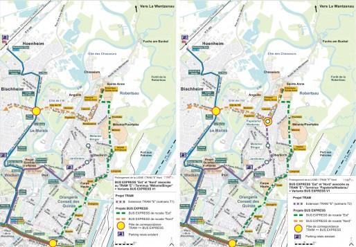 C'est le scénario T2 qui a été retenu pour l'extension du tramway E (Document CUS - TTK)