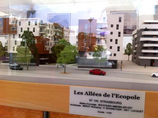 """Maquette des """"Allées de l'Ecopole"""", à l'inauguration du Bruckhof par Bouygues-Eiffage, jeudi 11 juillet 2013 (Photo MM / Rue89 Strasbourg)"""