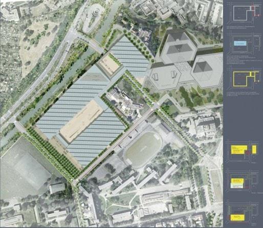 Plan masse du Parc expo (Cabinet Dietmar Feichtinger)
