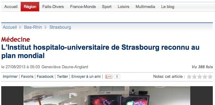 L'Institut hospitalo-universitaire de Strasbourg reconnu au plan mondial
