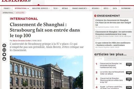 L'Université de Strasbourg à la 97e place du classement de Shangaï
