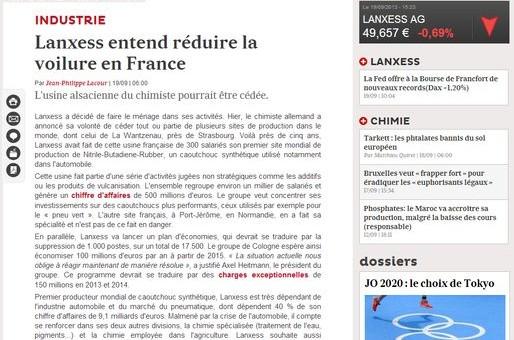 Lanxess veut vendre son usine de La Wantzenau