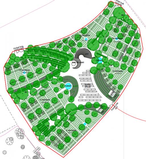 Le jardin sera partagé en six espaces correspondant à des groupes de 6 à 8 familles qui fonctionneront de façon autonomes (Document remis)
