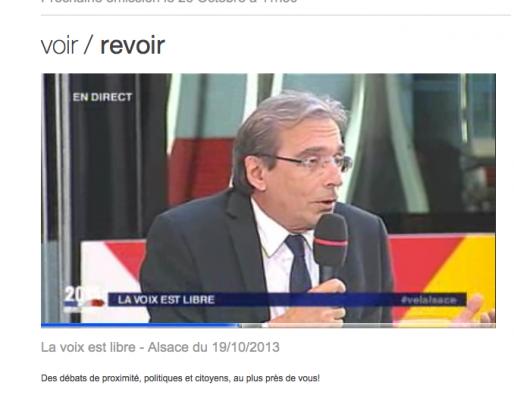 Edition spéciale de La Voix est libre sur le bilan de Roland Ries - France 3 Alsace, samedi 19 octobre 2013 (Capture MM)