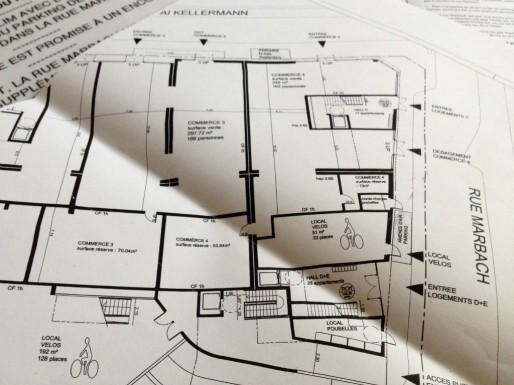 Plan du futur bâtiment, dernier des trois projets de l'îlot Printemps (Photo MM / Rue89 Strasbourg)