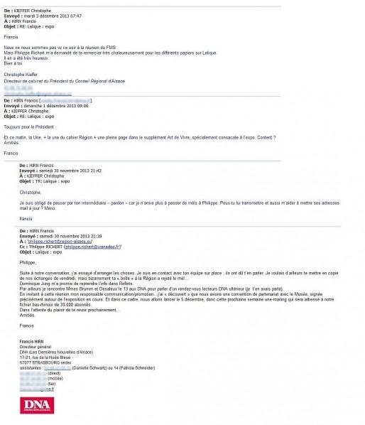 Echange d'emails entre Francis Hirn, DG des DNA, et Christophe Kieffer, dircab de Philippe Richert (doc Rue89 Strasbourg)