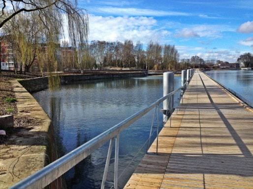 """Le ponton de 300 mètres de long pour découvrir """"au plus près de l'eau palmipèdes, batraciens, insectes, poissons..."""" (Photo MM / Rue89 Strasbourg)"""