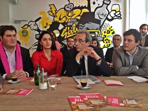 Présentation du 2ème volet du programme 2014-2020 de Roland Ries - Brasserie la Solidarité, mercredi 19 février (Photo MM / Rue89 Strasbourg)