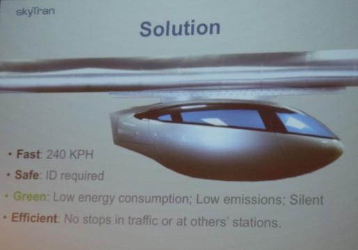 Modèle d'une capsule de SkyTran (Photo CF/ Rue89 Strasbourg)