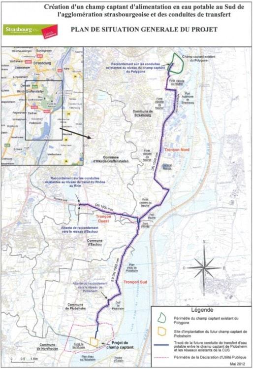 Le trajet prévu du nouveau réseau de secours en eau potable entre Plobsheim et le Polygone (doc CUS)