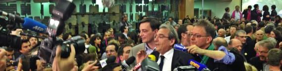 Roland Ries, au soir d'une victoire disputée, est réélu maire de Strasbourg - 30 mars 2014 (Photo MM / Rue89 Strasbourg)