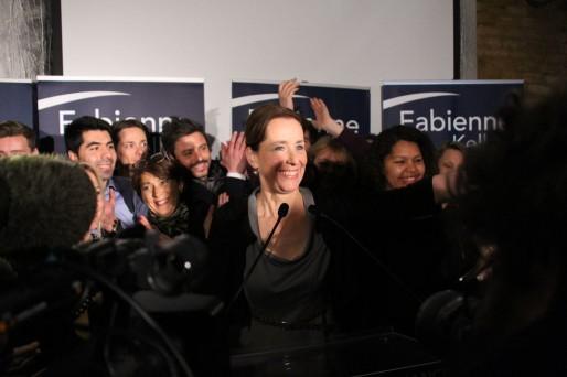 Fabienne Keller en fin de soirée au Raven (Photo campagne de FK)