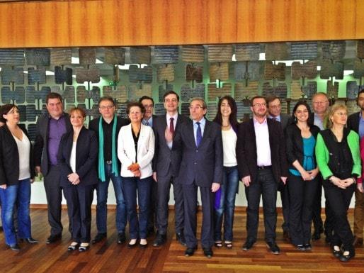 Les adjoints au maire de Strasbourg (2014-2020) ont été présentés au média mardi 8 avril (Photo MM / Rue89 Strasbourg)