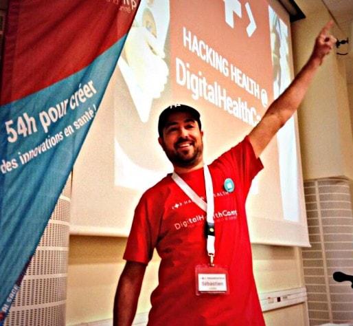 """Sébastien Letélié lors du DigitalHealthCamp : """"la révolution du numérique en santé est en marche"""" (Photo Luc Sirois / Twitter)"""