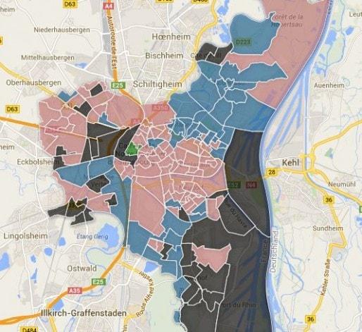 Carte des bureaux de vote strasbourgeois - cliquez pour voir le détail.