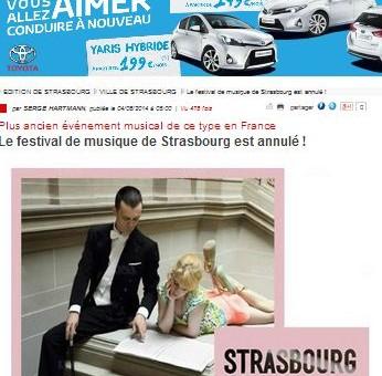 Le festival de musique de Strasbourg est annulé