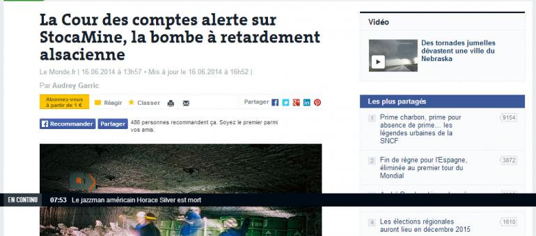 La Cour des comptes alerte sur StocaMine, bombe à retardement alsacienne