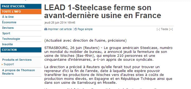 Steelcase ferme son usine de Wishes, 250 emplois supprimés