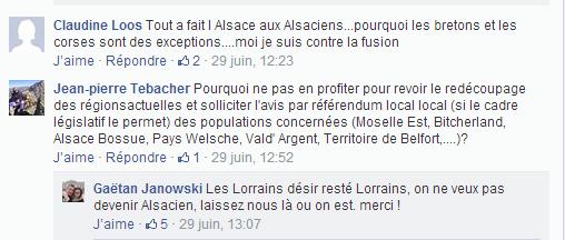 extrait du groupe Facebook ''Non à la fusion Alsace-Lorraine''