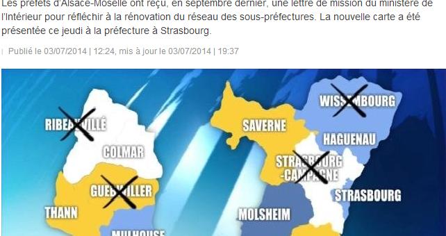 Quatre sous-préfectures supprimées en Alsace